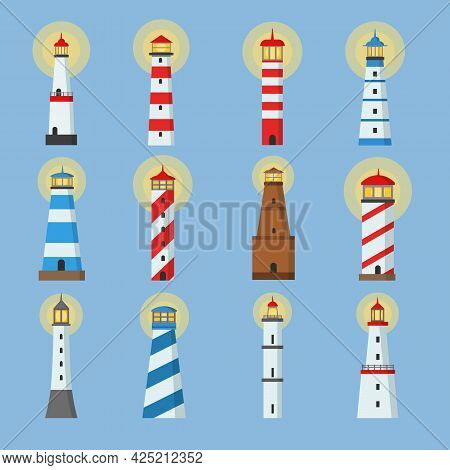Lighthouses Cartoon Illustration Collection. Navigation Towers With Lantern Sections Set Of Vector I