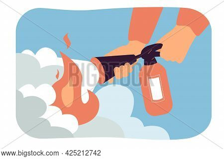 Hands Of Fireman With Fire Extinguisher. Man Extinguishing Fire While Squeezing Handle, Flame In Hom