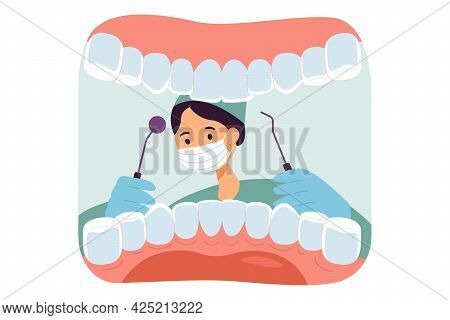 Cute Dentist Wearing Mask And Open Mouth Of Patient. White Teeth, Animated Dental Checkup Flat Vecto