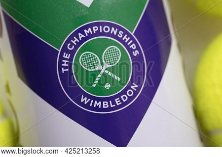 London, Uk - June 2021: Official Wimbledon Tennis Slazenger Brand Ball Tube