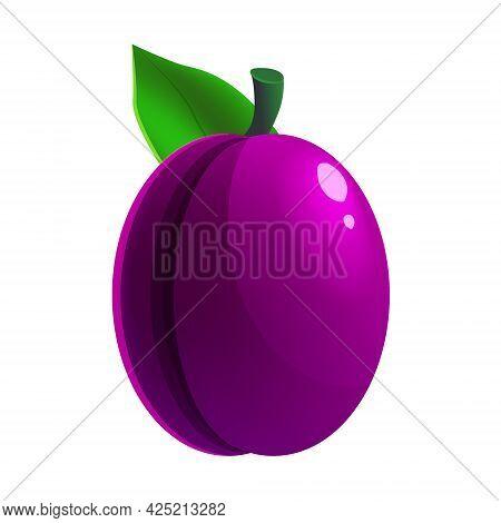 Ripe Plum Fruit Whole Fresh Organic, Purple Color, Icon. Vector Illustration Symbol Icon Cartoon