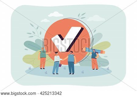 Tiny Business People With Checkmark. Check In Checklist, Woman Thanking Man For Good Job Flat Vector