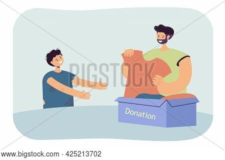 Volunteer Giving New Clothes To Needy Boy. Flat Vector Illustration. Poor Child In Dirty, Old Clothe