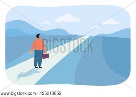 Businessman On Way To New Career Opportunities. Flat Vector Illustration. Man With Briefcase On Stra