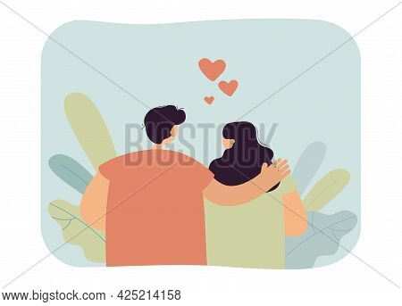 Couple In Love Back View. Flat Vector Illustration. Man And Woman In Romantic Relationship, Married