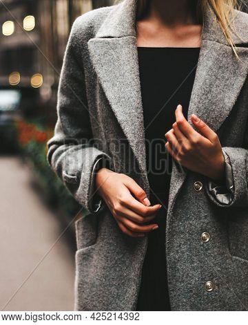 Womens Hands On A Coat Autumn Coat Girls Hands