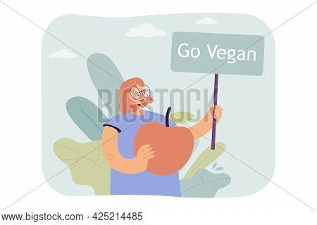 Cartoon Woman Calling For Vegan Lifestyle. Flat Vector Illustration. Girl Holding Huge Apple And Ban