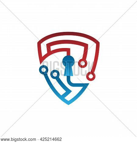 Tech Shield Security Logo Design Template Vector. Secure Tech Logo Template. Shield Guard Tech Logo