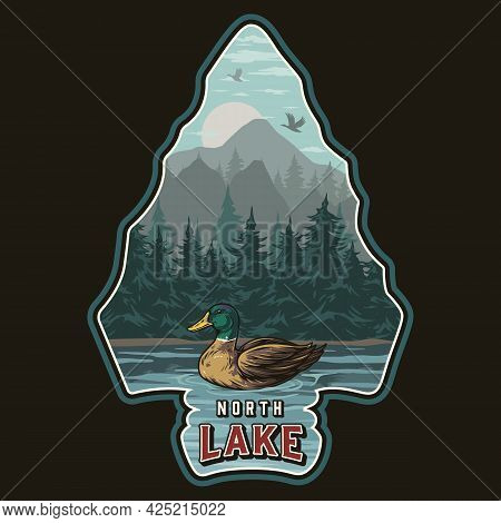 National Park Vintage Colorful Concept With Duck Swimming In Lake On Forest And Mountains Landscape