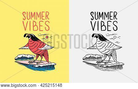 Red Bird On Surf Board. Emblem. Surfing Sign. Summer Surf. Vintage Engraved Emblem Hand Drawn Poster