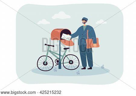 Mail Delivery Flat Vector Illustration. Uniformed Postman With Large Bag Over Shoulder Putting Envel
