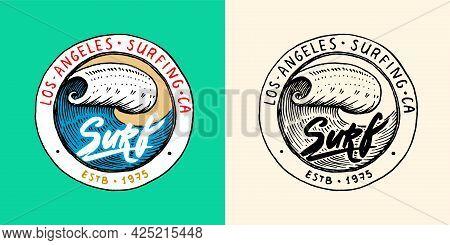 Sea Wave Emblem. Surfing Sign. Summer Surf. Blue Water. Vintage Tide. Engraved Emblem Hand Drawn. Re