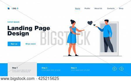 Boyfriend Sharing Love From Huge Smartphone. Girlfriend, Phone, Heart Flat Vector Illustration. Rela