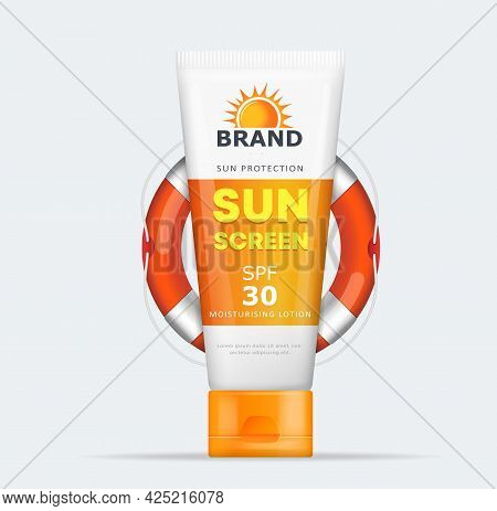 Sunblock Tube Lotion Cream. Sunscreen  Mousturizing Cream Package Vector Illustration
