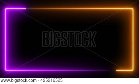 Computer Generated Color Animation. 3d Rendering Neon Frame Of Blue And Pink Colors On A Black Backg