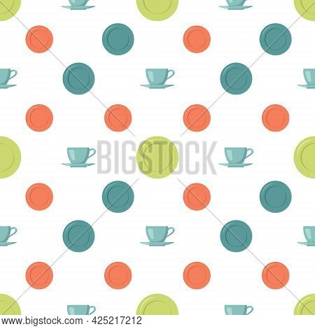 Seamless Pattern With Cups, Saucers And Plates. Tableware Print For Kitchen, Cafe, Home Design, Text