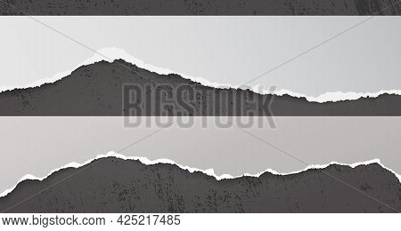Torn, Ripped White Paper Strips With Soft Shadow Are On Dark Stained Background For Text. Vector Ill