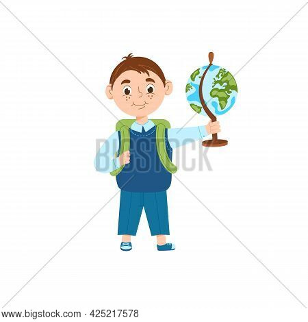 A Cheerful Schoolboy Is Holding A Globe. Concept Back To School. Boy Pupil With A Backpack. Isolated