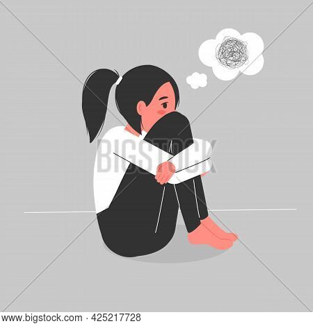 The Woman Experiences Depression And Feelings Of Loneliness. The Girls Washed Are Confused, She Is E