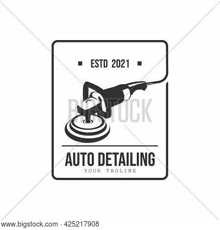 Vintage Style Auto Polish Detailing Logo Design Template. Auto Detailing Polish Car Machine Logo Des