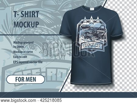 T-shirt Mock-up Template With Off Road, Suv Logo. Editable Vector Layout.
