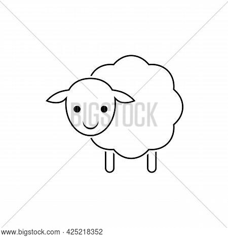 Baby Sheep Icon. Vector Drawing. Lamb Linear Outline Illustration On White Background.