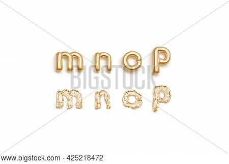 Inflated, Deflated Gold M N O P Letters, Balloon Font, 3d Rendering. Decoration Golden Typeset For P