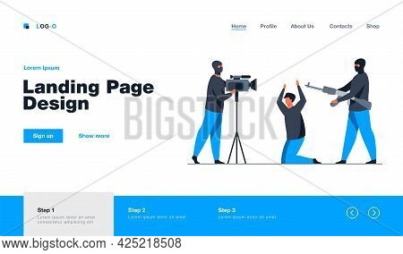 Terrorist Shooting Video With Hostage. Gangsters In Mask, Aiming Gun, Captive. Flat Vector Illustrat