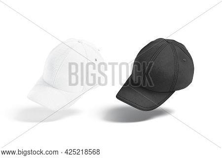 Blank Black And White Baseball Cap Mockup, No Gravity, 3d Rendering. Empty Fabric Headgear With Viso