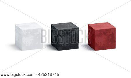 Blank Velvet Black, White And Red Cube Mockup Set, 3d Rendering. Empty Velour Or Silken Texture Box