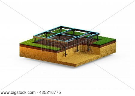 Helical Anchors Foundation. Isolated Digital Industrial 3d Rendering