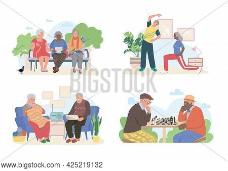 Diverse Multiracial And Multiethnic Elderly, Old, Senior People At Home, Doing Different Activities,