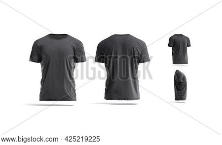 Blank Black Wrinkled T-shirt Mockup, Different Views, 3d Rendering. Empty Casual Undervest Tee-shirt