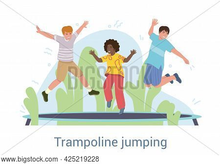 Group Of Three Happy Laughing Diverse Young Friends Playing On A Trampoline Outdoors In The Garden W