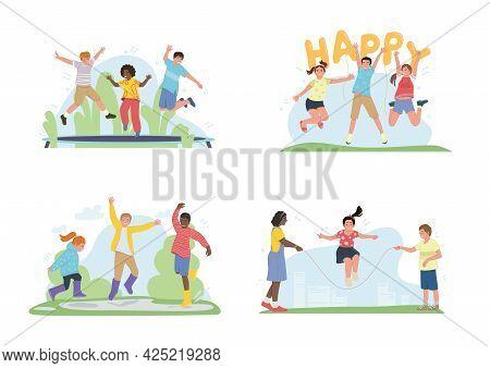 Happy Children Jumping, Playing, Waving, Raising Hands. Different Pre Teen Or Teenage Energetic Kids