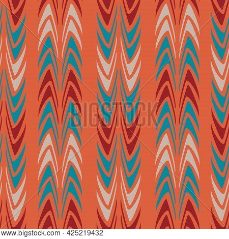 Abstract Curved Elements In Blue, Beige And Red On A Light Red Background. Ethnic Motif In African S