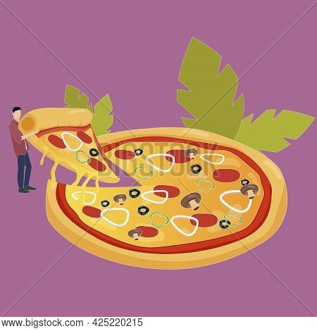 Slice Pizza, Cutted Piece Of Italian Traditional Meal. Cartoon Restaurant Image Design, Original Cui