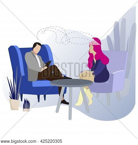 Psychology Session, Conversation And Consultation Face To Face, Psychoanalysis Help By Psychologist,