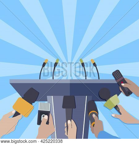 Rostrum With Microphones For Press Release Famous Person Or Politician. Vector Announcement For Mult