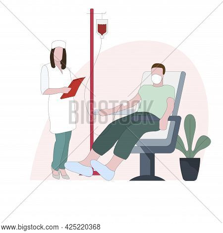Donation Blood To Immediately Transfusion, Emergency Treatment. Vector Donor Drop Donation, Patient