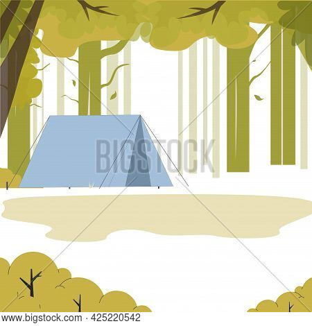 Landscape Tent In Green Wood, Place To Camping. Vector Adventure And Tourism, Outdoor Wood Camp, Sum