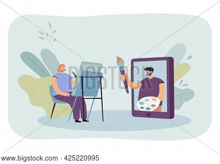 Woman Watching Drawing Workshop Online. Flat Vector Illustration. Girl With Of Easel, Giant Tablet,