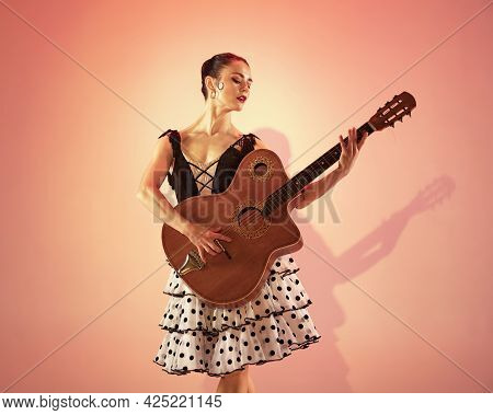 Flamenco Dancer Spain Woman Gypsy With Red Rose And Spanish Guitar