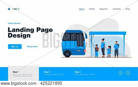 Children With Teacher Waiting For Bus At Bus Stop. School, Vehicle, Kid Flat Illustration. Transport