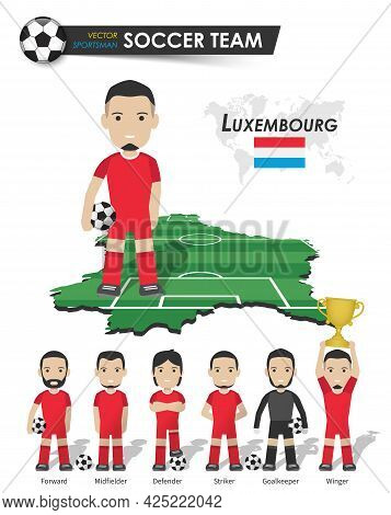 Luxembourg National Soccer Cup Team . Football Player With Sports Jersey Stand On Perspective Field