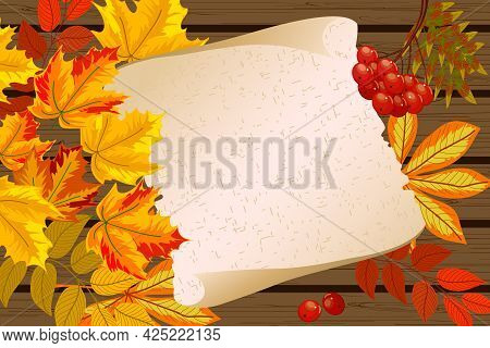 Autumn Leaves In Color Illustration.autumn Leaves And A Sheet Of Paper On A Wooden Background In Vec