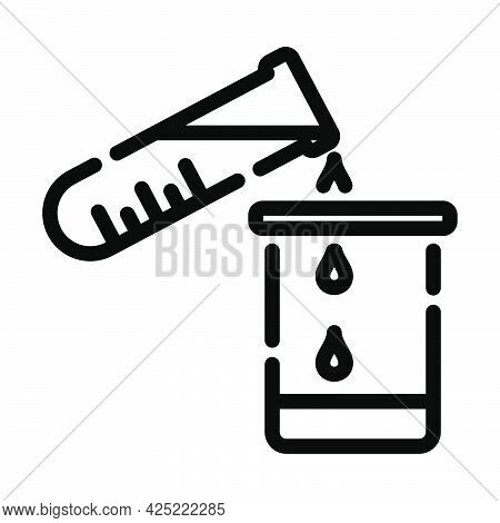 Icon Of Chemistry Beaker Pour Liquid In Flask. Bold Outline Design With Editable Stroke Width. Vecto