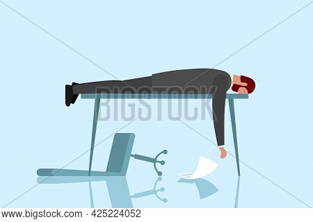 Professional Burnout Syndrome And Despair. Exhausted Sick Tired Male Manager Sad Boring Lies With He