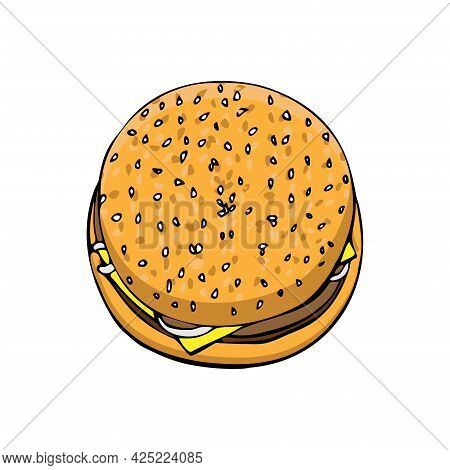 Cheeseburger With Beef Cutlet With Cheese In A Bun With Sesame Seeds