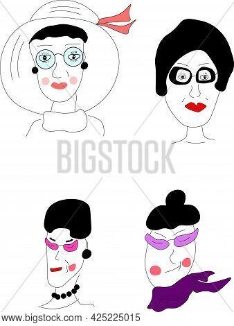 Set Of Stylish And Morden Grandma's Faces. Beautiful And Fashionable Older Lady. Vetor. Illustration